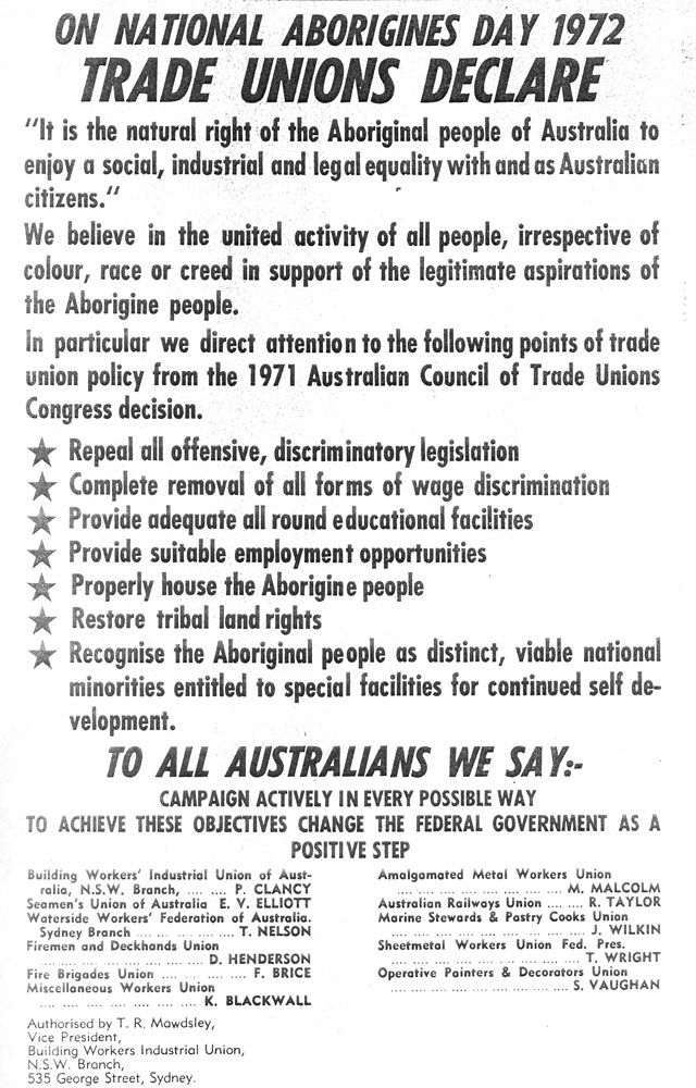 Leaflet of union support for National Aborigines Day