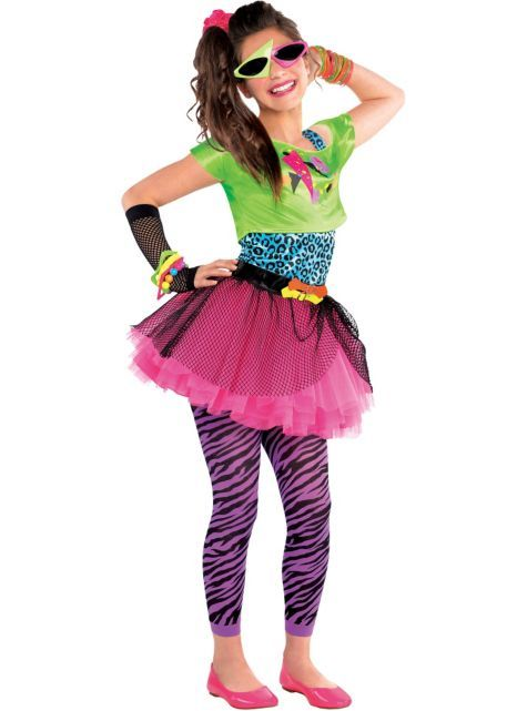 Girls Totally Awesome 80s Costume - Party City