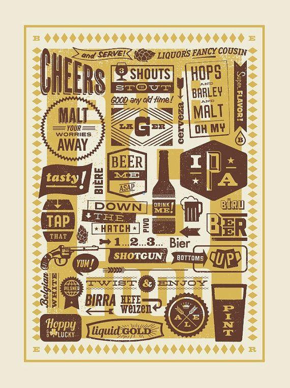 Beer Is Good Hand-Printed Poster. $30.00, via Etsy.