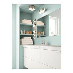IKEA - SÖDERSVIK, Lampe murale à LED, , Émet une lumière uniforme, idéale pour éclairer un miroir et un lavabo.Installé de part et d'autre d'un miroir, ce luminaire produit l'éclairage idéal, sans ombres, pour réaliser un maquillage parfait ou bien se brosser les dents.Vous pouvez facilement régler la lumière sur deux intensités différentes car ce luminaire est doté d'un variateur d'intensité à effleurement intégré.Fonctionne avec des LED qui consomment jusqu'à…