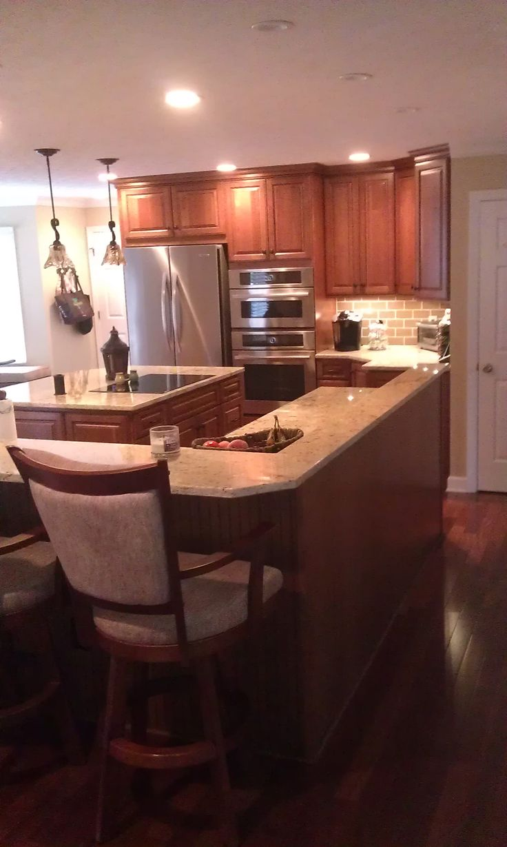 Kitchen With Islands, Homecrest Cabinets, Jamison Door, Cherry Wood, Autumn  Finish With