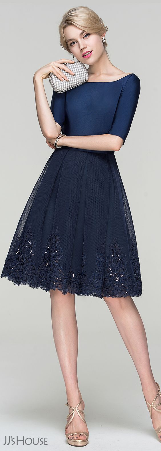A line princess scoop neck knee length tulle cocktail dress with sequins 016094366