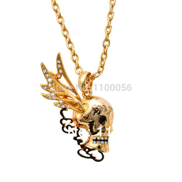 Neckless Женщины Bijoux De Marque Collane Collier Femme Золотой Череп Крылья Ожерелья Горный Хрусталь Скелет Ожерелье для женщин T1400
