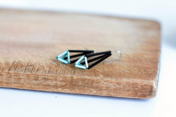 Himmeli earrings Geometric dangle earrings black by zdrop on Etsy