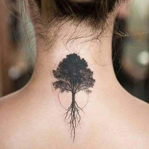 kadın sırt ağaç dövmesi woman upper back tree tattoo