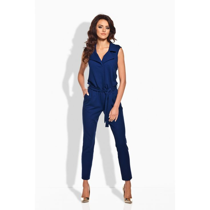 Salopeta bleumarin de dama cu pantaloni trei sferturi