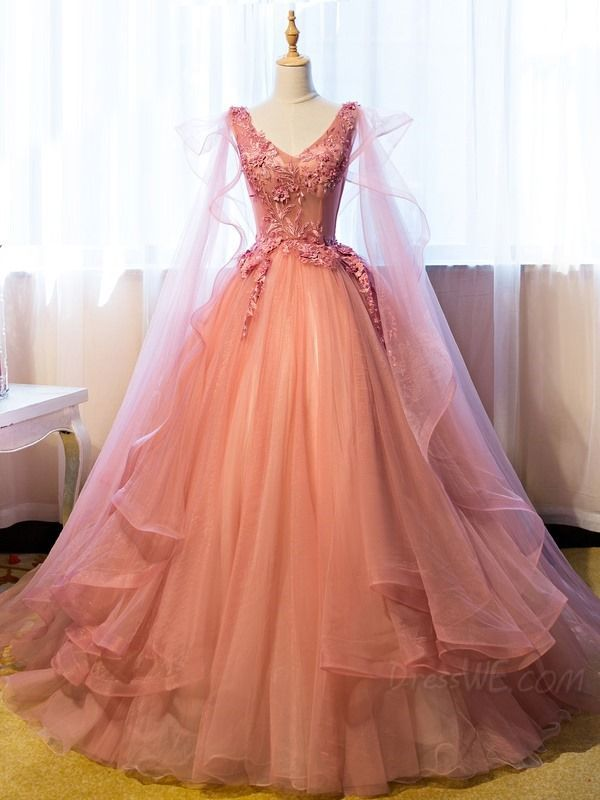 Buy Vintage Ball Gown V Neck Appliques Beading Floor Length