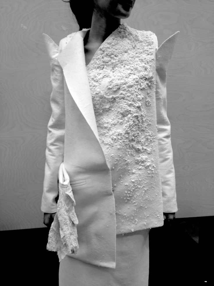 Deconstructed jacket with embroidered white textures; tailoring; pattern cutting; textiles for fashion // Alessandra Parolin