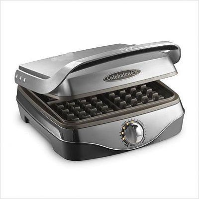 Calphalon HE400WM No Peek Waffle Maker Individual Pieces Cookware - Stainless Steel by Calphalon. $208.89. 7692560. Cookware. Who wants Belgian waffles? Have fun this weekend whipping them up with the No Peek™ Waffle Maker from Calphalon®. Brushed stainless steel exterior is easy to keep clean and maintain a nice and shiny appearance. Heavy gauge cast aluminum plates bake four extra-large, deep pocket Belgian waffles at a time. Features the OPTI-HEAT system for premium ...