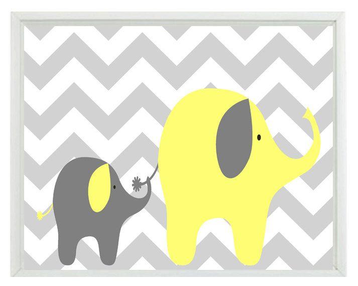 Elephant Chevron Nursery Wall Art Print Yellow Gray