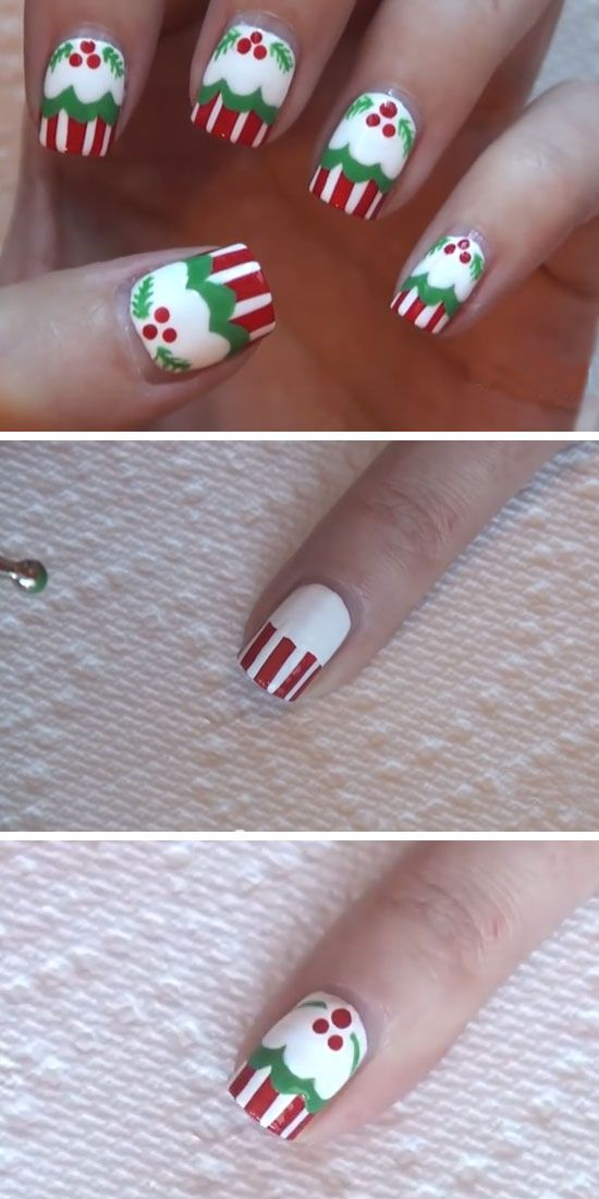 45 best holiday nails images on pinterest pretty nails cute christmas cupcake diy holiday nail art ideas for winter prinsesfo Image collections