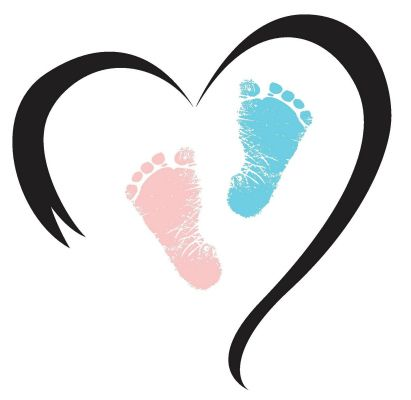 KAYE...this is the one I love! Heart shape perfect. Feet slightly bigger (not much), both blue. Want to see better footprints then these.. :)