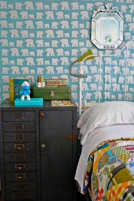 Love the polar bear wallpaper kids space pinterest for Tomboy bedroom designs