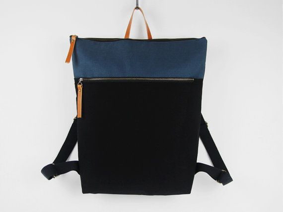 Unisex, Black and teal blue canvas Backpack, laptop backpack with zipper closure and front zipper pocket, Design by BagyBags