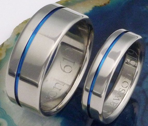 Original Thin Blue Line Titanium Wedding Band Set - stb2
