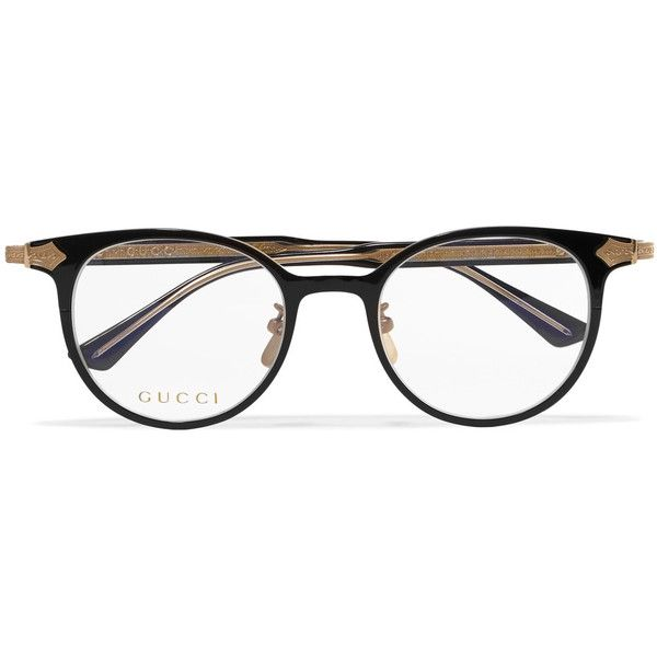 6dc052bec Gucci Gucci - Round-frame Acetate And Gold-tone Optical Glasses -... (2,530  SAR) ❤ liked on Polyvore featuring accessories, eyewea…