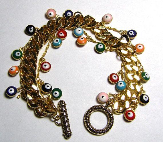 Evil eye bracelet.   Evil eye jewelry by rebekajewelry on Etsy, $115.00