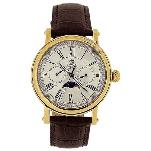 Royal London Gents Date Day Sun & Moon Phase Brown Leather Strap Watch 40089-03