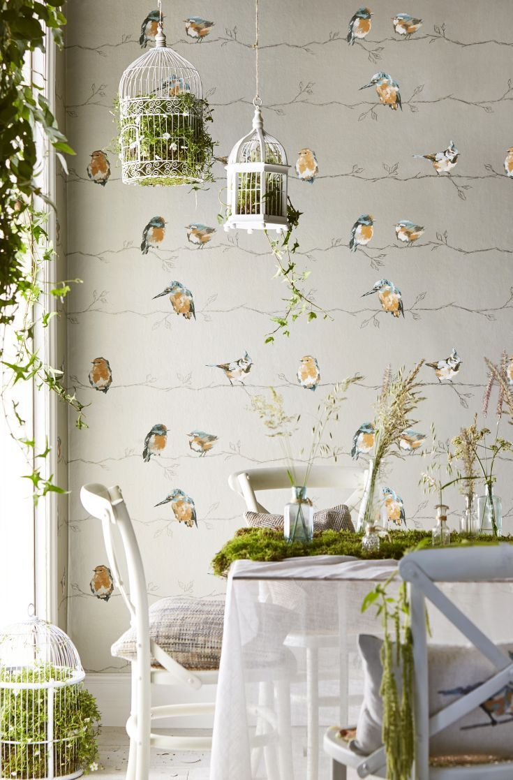 Beautiful British bird wallpaper design by Harlequin called Persico.