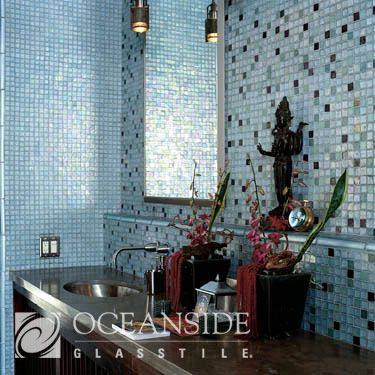 "Tessera 1""x1"" Mosaic Field, Casa California 8"" Quarter Round Trim, bathroom, backsplash, wall, sink"