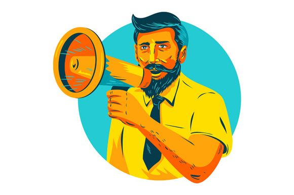 Bearded Hipster Man With Megaphone WPA WPA style illustration of bearded hipster man holding megaphone viewed from front set inside circle on isolated background. #illustration #BeardedHipsterMan