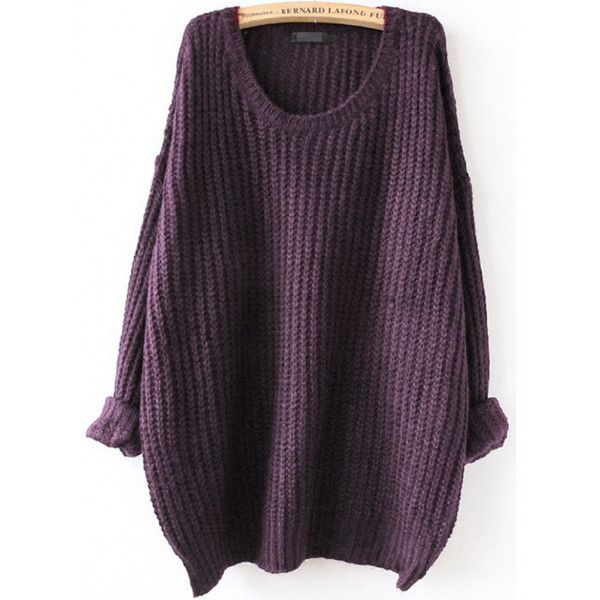 Purple Drop Shoulder Textured Sweater ($18) ❤ liked on Polyvore featuring tops, sweaters, purple, long sleeve pullover sweater, pullover sweater, loose long sleeve tops, purple top and sweater pullover