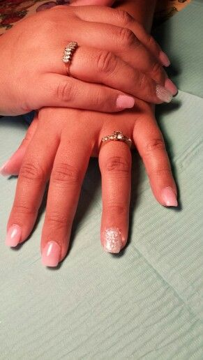 Light pink.and white sparkle nails