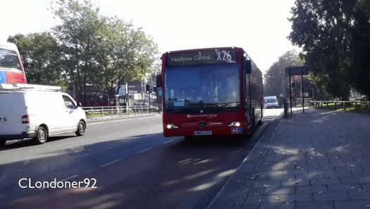 London Buses Route X26 Operated by Epsom Buses from EB garage Mercedes-Benz Citaro BN12EOS MCL10 Filmed on 9th October 2015