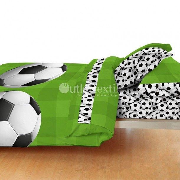 Juego de Sábanas GOL Denisa Home. Este juego de sábanas presenta un estampado formado por un grande balón de fútbol sobre un fondo verde que simula el césped del estadio. Una idea genial para la habitación de los niños amantes de este deporte.