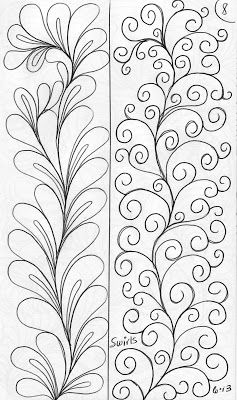 feathers and tendrils in border or sSHING BY LuAnn Kessi: Sketch Book.....Designs on a Spine