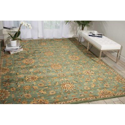 "Kathy Ireland Home Gallery Ancient Times Teal Area Rug Rug Size: 7'9"" x 10'10"""