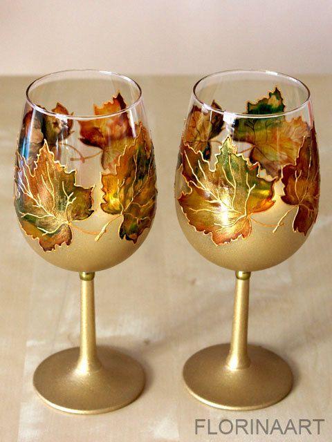Wine glasses Hand painted Set of 2 wine glasses by Florinaart