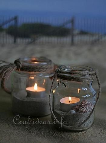Maritime Tea Light Jars - tie a rope around the rim of the glass for decorative reasons and also to hide the screw-top seam on the top of the jar. Then fill the jar with sand, shells and a tea light.