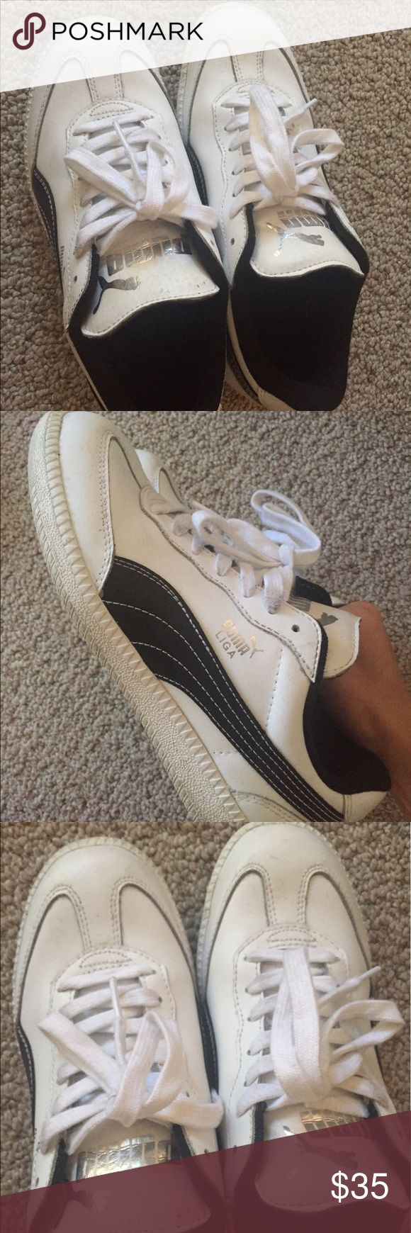 Puma Liga white and black leather size 5 I will give them a thorough cleaning before sending. Comes with original box Puma Shoes Athletic Shoes