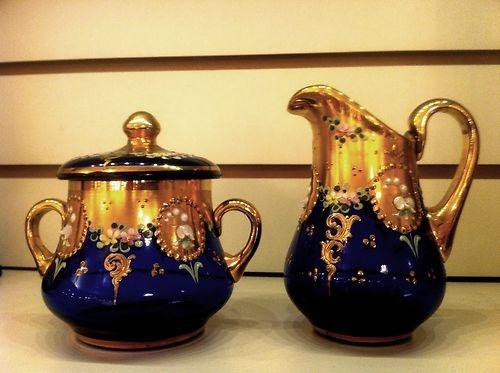 RARE Bohemian Moser Gold Gilt Cobalt Blue Glass Sugar Bowl and Creamer