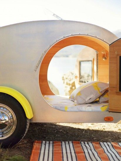 A Great Quiet Time Alone Place......  Teardrop camper. I've wanted one of these since I was a kid, either a vintage one I could remodel, or one like this. So cute! Just park it in the backyard...