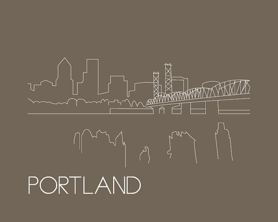 Portland Skyline Outline Print  8x10  by nicolejaeckeldesign, $20.00