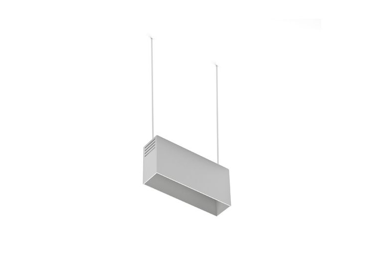Hanging indoor lighting fixture IP20. Aluminium extrusion manufactured. Matt difusers. Driver is included. Interior finished in different texturized colors. Hanging down from an Iron cable..