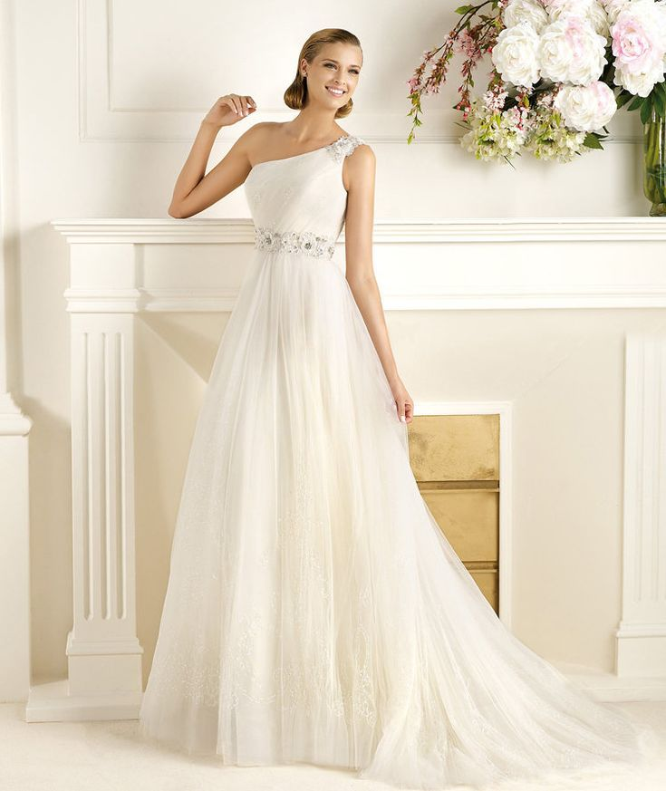 Charming A-line One Shoulder Beading Hand Made Flowers Sweep/Brush Train Tulle Wedding Dresses : Wedding Dresses, Bridesmaid Dresses, Gowns Online Shop, | Aisle Style UK