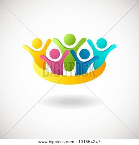 Abstract people logo, sign, icon. Blue, pink, green and yellow people symbols. Vector concept for social network, team work, business company, partnership, friends, family and other