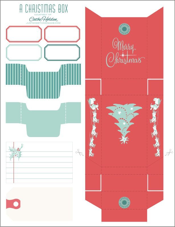 Printable Christmas Box, Cards, Tags and Labels | Just Something I Made