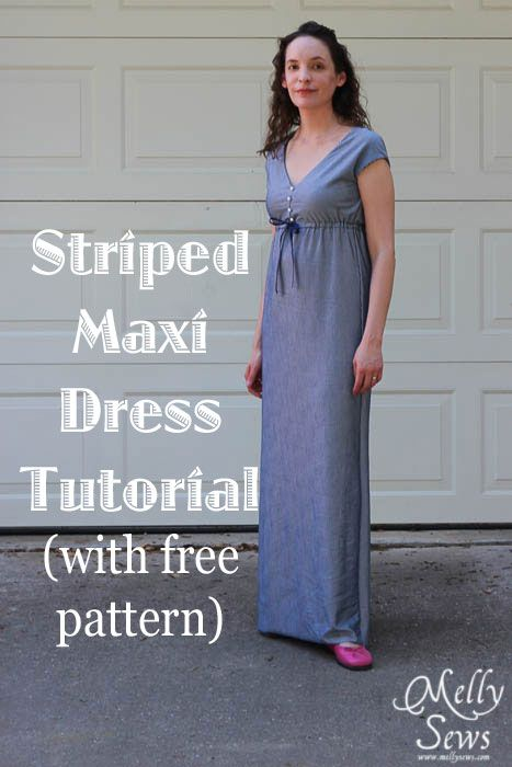 Striped Maxi Sundress Tutorial by Melly Sews with free pattern