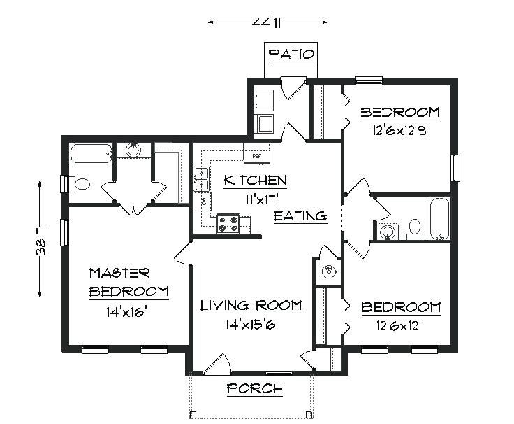 Bedroom Floor Plan With Measurements Image Processing Floor Plan Detecting Rooms Borders Area And Ro Two Bedroom House Tiny House Plans House Construction Plan