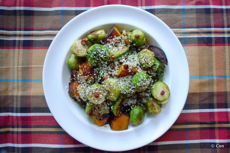 Spruitjes pompoen roerbak met berberissen (vegan) recept ~ lekker, makkelijk, koolhydraatarm ~ www.con-serveert.nl
