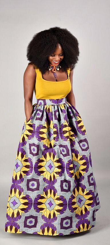 Debbie Maxi Skirt African print skirt. African Print- Maxi Skirt. Ankara | Dutch wax | Kente | Kitenge | Dashiki | African print dress | African fashion | African women dresses | African prints | Nigerian style | = I need dis!
