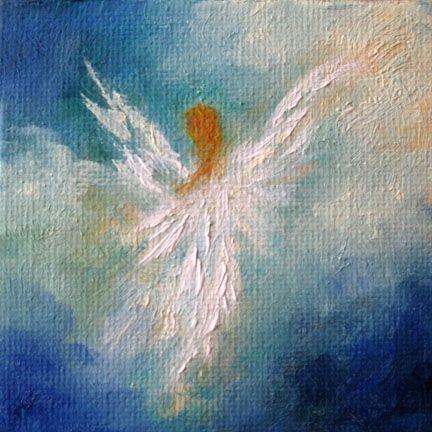 Angel, Miniature Angel Oil Painting Original Spiritual Art by Marina Petro, painting by artist Marina Petro
