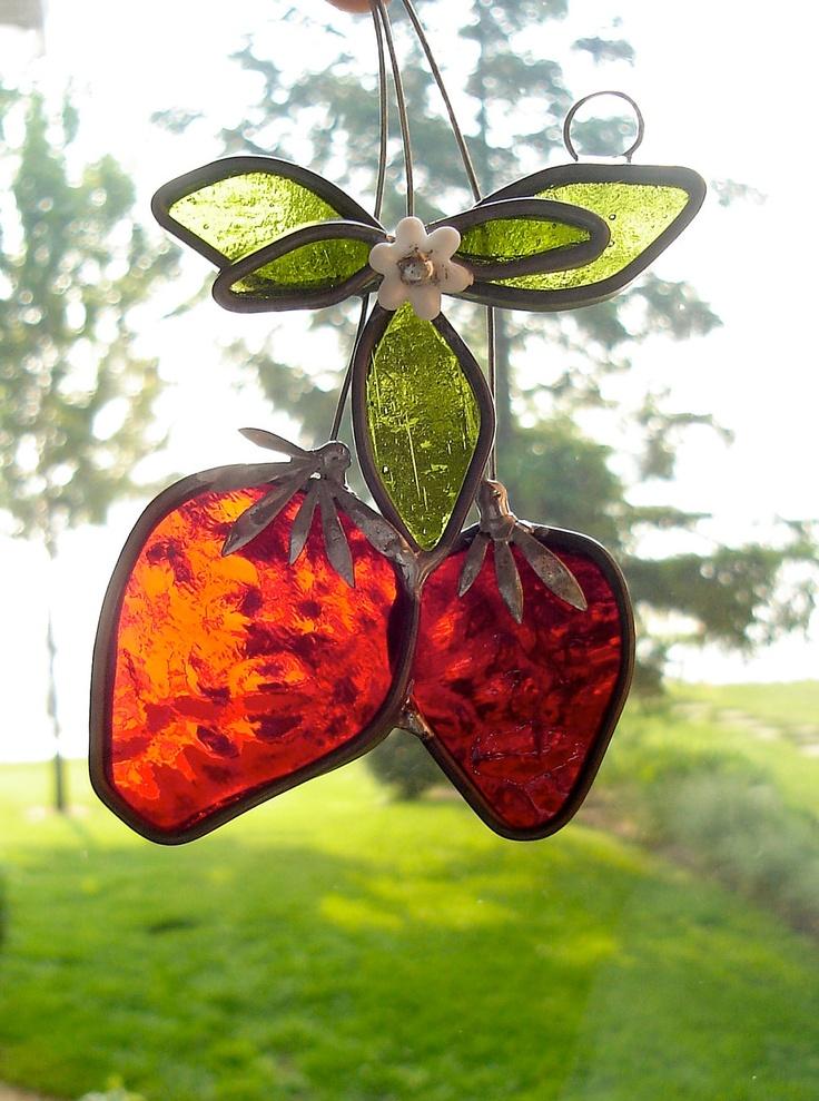 window suncatchers | Strawberry Time Stained Glass Suncatcher by dortdesigns on Etsy
