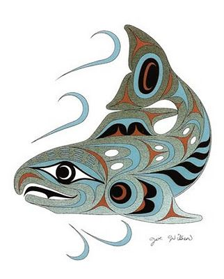 Pacific Northwest Native American salmon art.