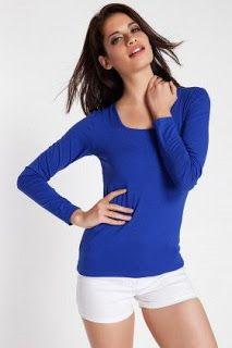 mavi tişört kadın bluz satın al basic