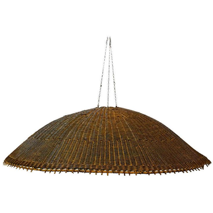 Oversized Woven Rattan Hanging Lamp Shade | From a unique collection of antique and modern more lighting at https://www.1stdibs.com/furniture/lighting/decorative-lighting-lamps/